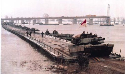 Tanks crossing Sava